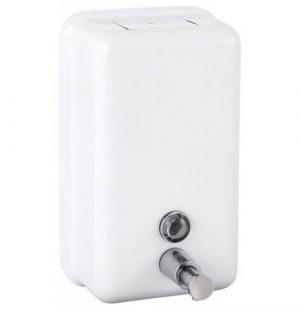 Lekerekített téglalap formájú myomógombos szappanadoló fehér színben.