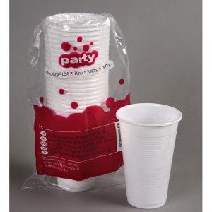 Műanyag fehér pohár 20 darabos kiszerelésben