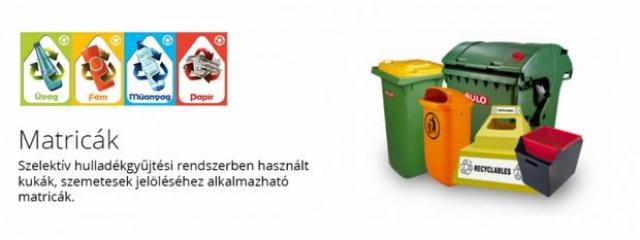 Szelektív hulladékgyűjtőkhöz használható matrticák